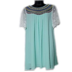 Mint Embroidered Baby Doll Dress with Lace Sleeves
